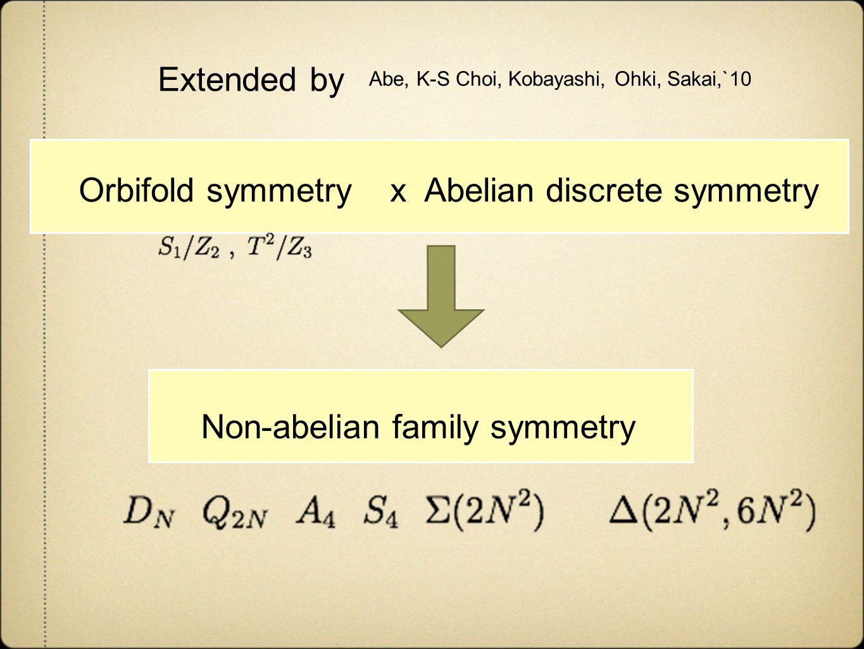 Abe, K-S Choi, Kobayashi, Ohki, Sakai,`10 Extended by Orbifold symmetry x Abelian discrete symmetry Non-abelian family symmetry
