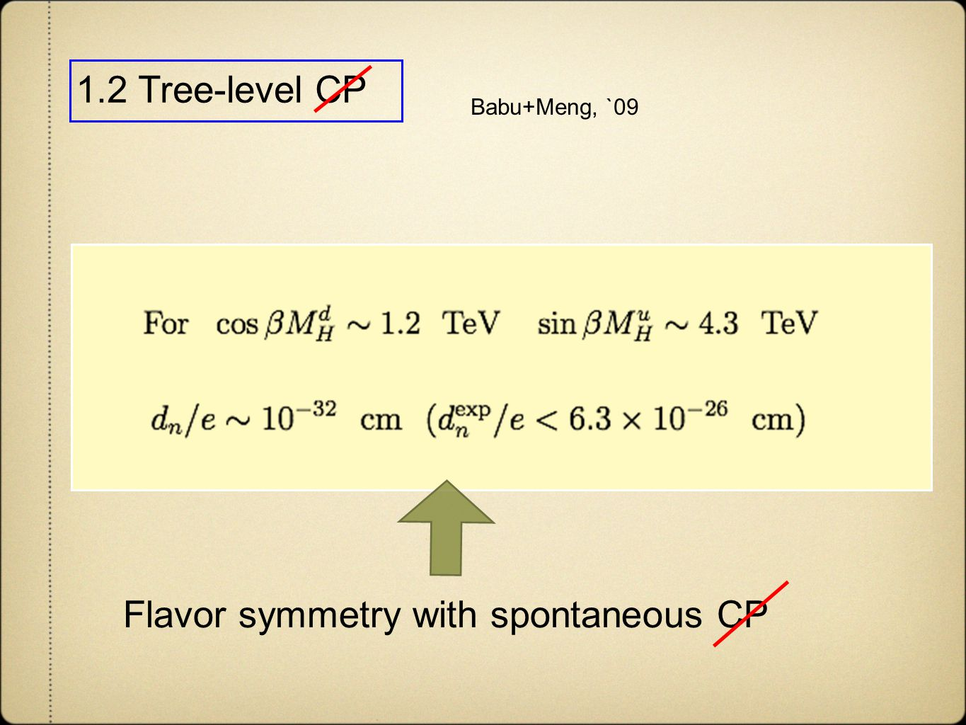 1.2 Tree-level CP Flavor symmetry with spontaneous CP Babu+Meng, `09