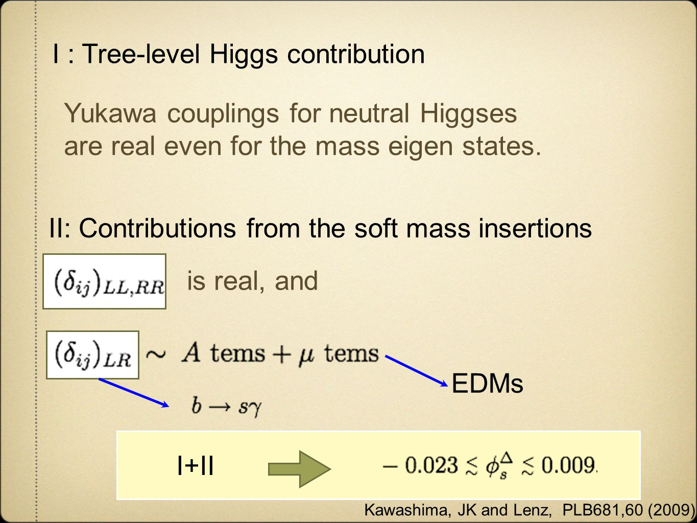 Kawashima, JK and Lenz, PLB681,60 (2009) I : Tree-level Higgs contribution II: Contributions from the soft mass insertions I+II Yukawa couplings for neutral Higgses are real even for the mass eigen states.