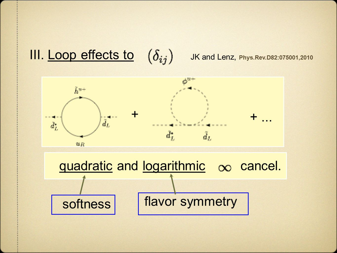 III. Loop effects to JK and Lenz, Phys.Rev.D82:075001,2010 + +...