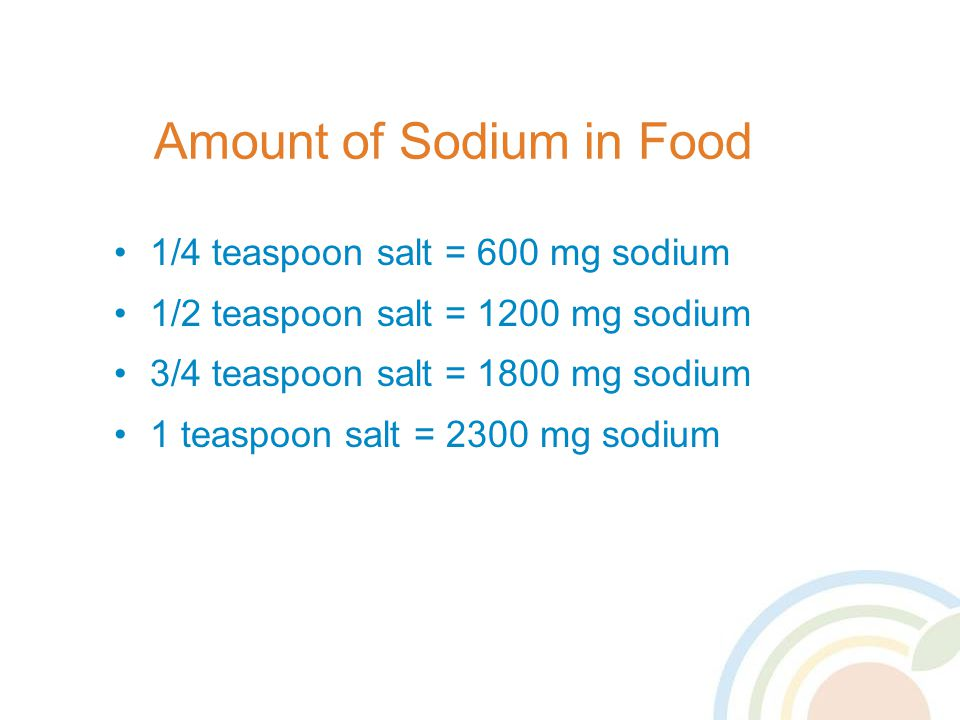Amount of Sodium in Food 1/4 teaspoon salt = 600 mg sodium 1/2 teaspoon salt = 1200 mg sodium 3/4 teaspoon salt = 1800 mg sodium 1 teaspoon salt = 2300 mg sodium