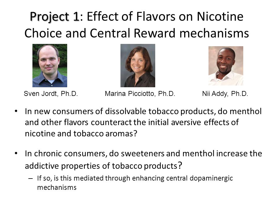 Project 1 Project 1: Effect of Flavors on Nicotine Choice and Central Reward mechanisms In new consumers of dissolvable tobacco products, do menthol and other flavors counteract the initial aversive effects of nicotine and tobacco aromas.