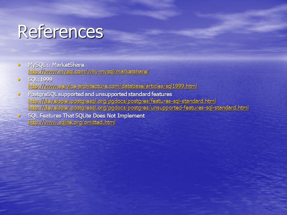 References MySQL :: MarketShare http://www.mysql.com/why-mysql/marketshare/ MySQL :: MarketShare http://www.mysql.com/why-mysql/marketshare/ http://ww