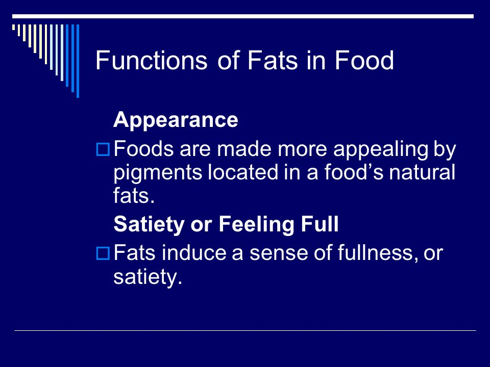 Types of Fats  The different types of fats: Butter Margarine Shortenings Oils Lard Cocoa butter Fat replacers
