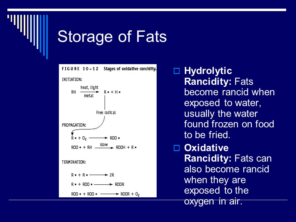 Storage of Fats  Flavor reversion: The breakdown (oxidation) of an essential fatty acid, linolenic acid, found in certain vegetable oils, leading to an undesirable flavor change prior to the start of actual rancidity.