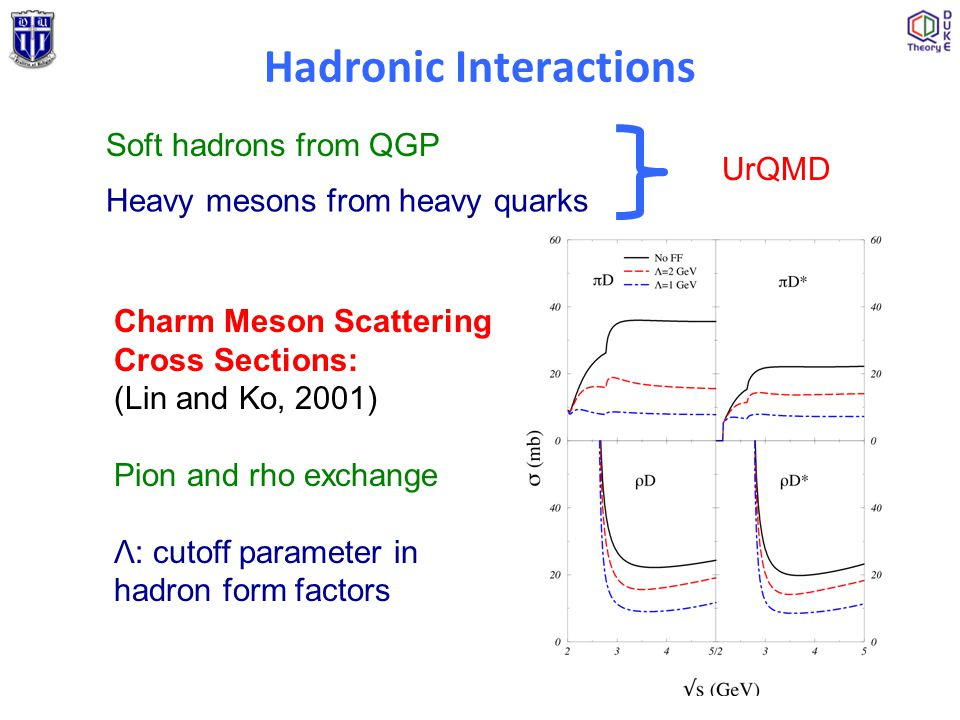 Hadronic Interactions Soft hadrons from QGP Heavy mesons from heavy quarks UrQMD Charm Meson Scattering Cross Sections: (Lin and Ko, 2001) Pion and rh