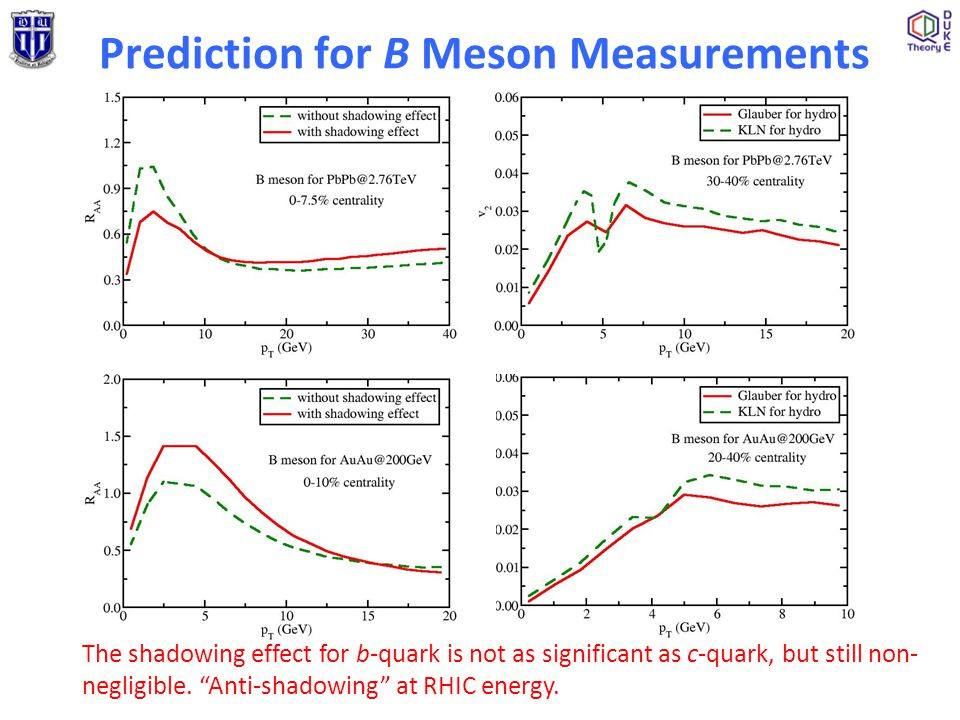 "Prediction for B Meson Measurements The shadowing effect for b-quark is not as significant as c-quark, but still non- negligible. ""Anti-shadowing"" at"
