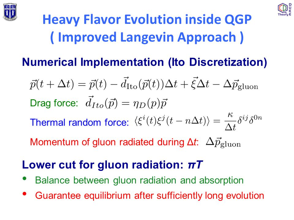 Numerical Implementation (Ito Discretization) Drag force: Thermal random force: Momentum of gluon radiated during Δt: Lower cut for gluon radiation: π