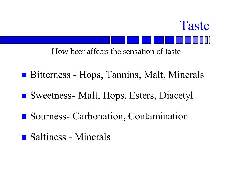 Taste n Bitterness - Hops, Tannins, Malt, Minerals n Sweetness- Malt, Hops, Esters, Diacetyl n Sourness- Carbonation, Contamination n Saltiness - Minerals How beer affects the sensation of taste