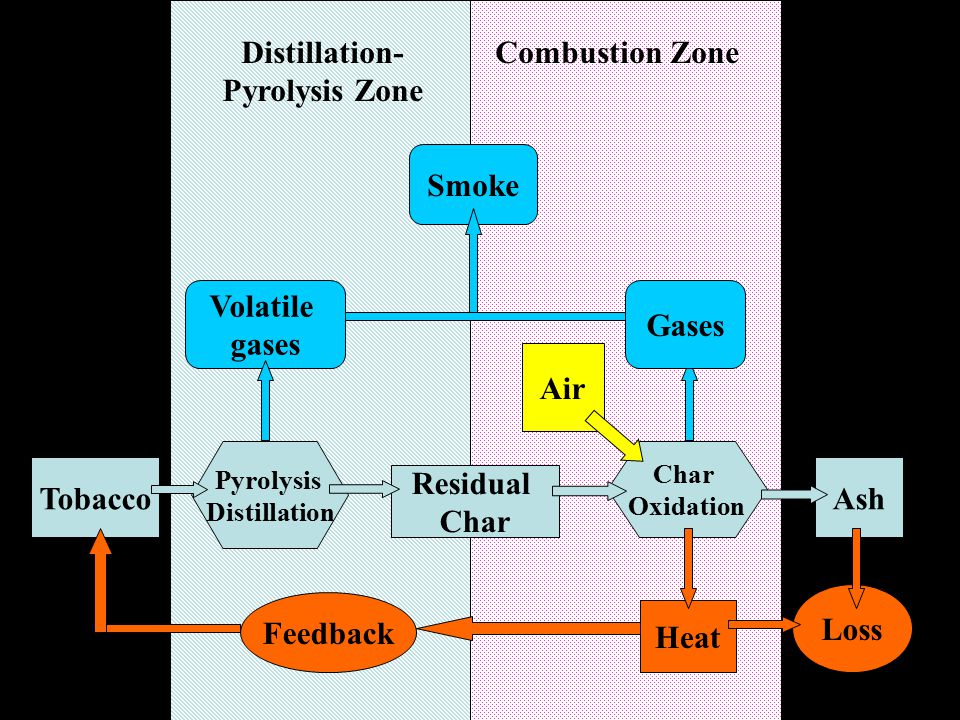 Volatile gases Gases Smoke Air Distillation- Pyrolysis Zone Combustion Zone Tobacco Pyrolysis Distillation Residual Char Oxidation Ash Heat Loss Feedback