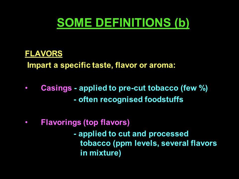 Paschke, Scherer and Heller - Conclusions Tobacco ingredients used commercially do not increase the biological activity of cigarette smoke Many gaps in knowledge on pyrolysis and transfer to smoke Standard analytical methods needed for influence of ingredients on smoke chemistry
