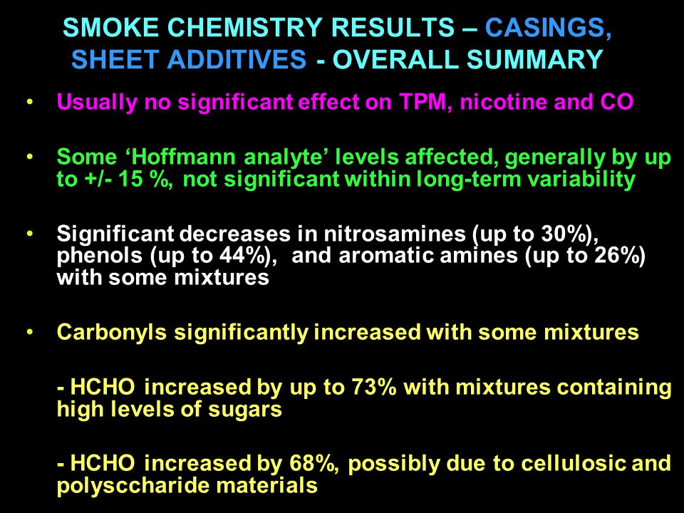 SMOKE CHEMISTRY RESULTS – CASINGS, SHEET ADDITIVES - OVERALL SUMMARY Usually no significant effect on TPM, nicotine and CO Some 'Hoffmann analyte' levels affected, generally by up to +/- 15 %, not significant within long-term variability Significant decreases in nitrosamines (up to 30%), phenols (up to 44%), and aromatic amines (up to 26%) with some mixtures Carbonyls significantly increased with some mixtures - HCHO increased by up to 73% with mixtures containing high levels of sugars - HCHO increased by 68%, possibly due to cellulosic and polysccharide materials