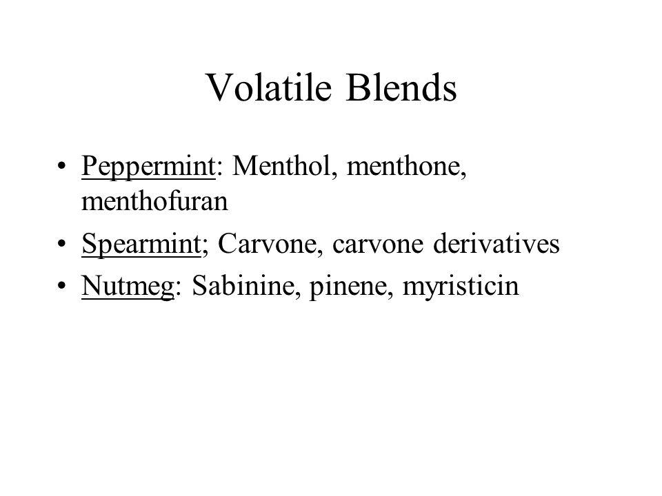 Volatile Blends Peppermint: Menthol, menthone, menthofuran Spearmint; Carvone, carvone derivatives Nutmeg: Sabinine, pinene, myristicin