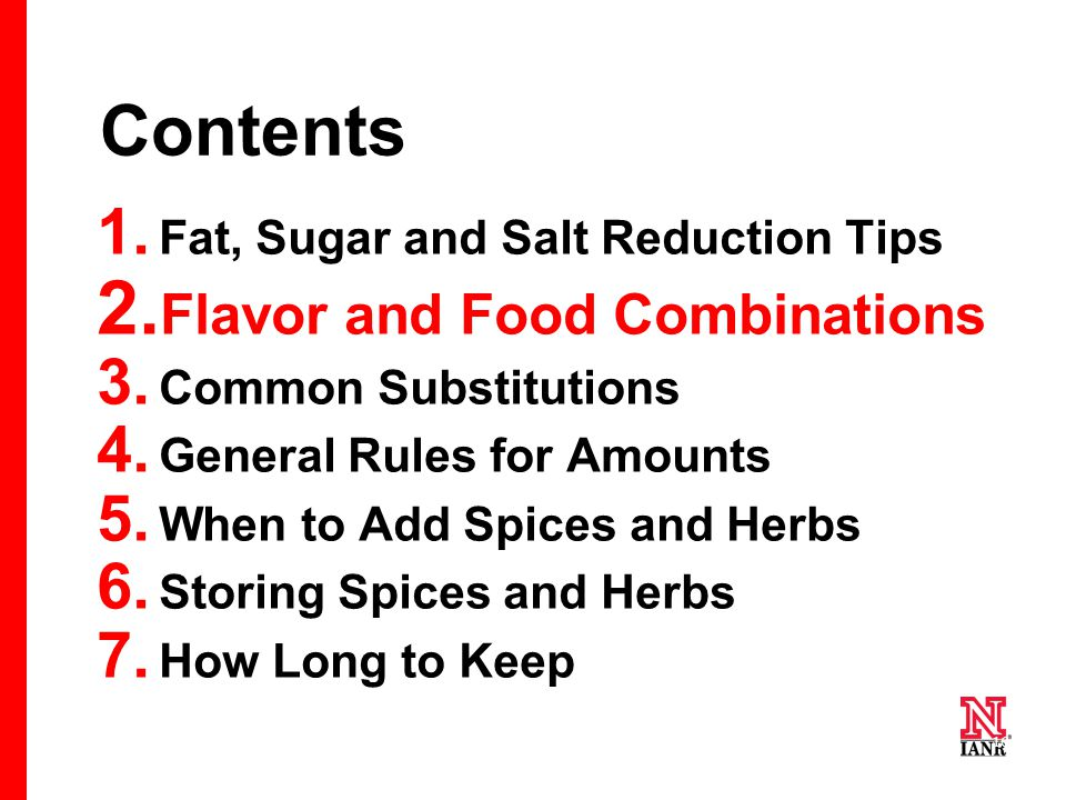 16 Contents 1. Fat, Sugar and Salt Reduction Tips 2.