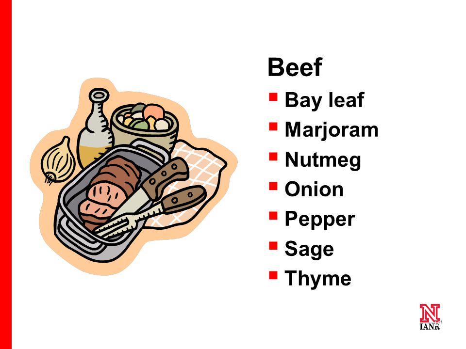 18 Beef  Bay leaf  Marjoram  Nutmeg  Onion  Pepper  Sage  Thyme