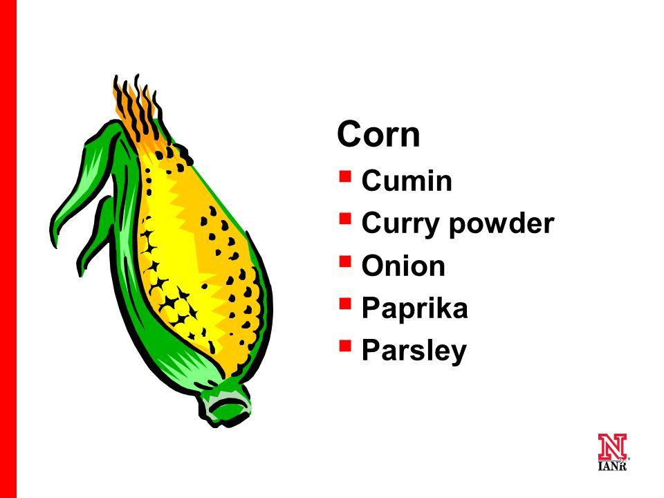 24 Corn  Cumin  Curry powder  Onion  Paprika  Parsley