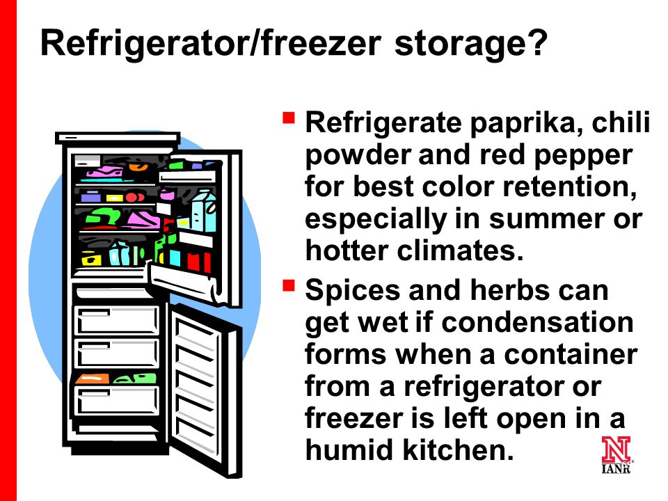 69 Refrigerator/freezer storage.