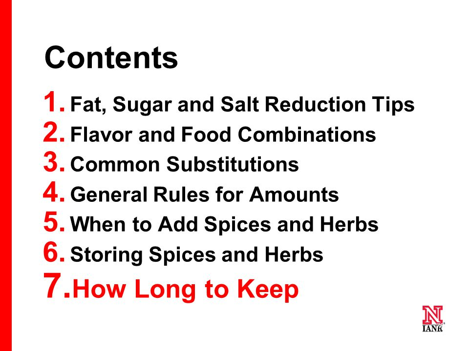 70 Contents 1. Fat, Sugar and Salt Reduction Tips 2.
