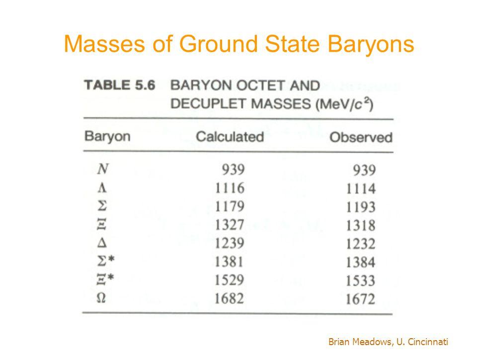 Brian Meadows, U. Cincinnati Masses of Ground State Baryons