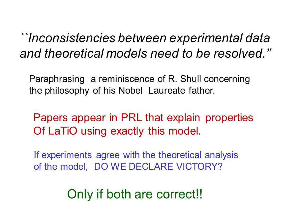 ``Inconsistencies between experimental data and theoretical models need to be resolved.'' Paraphrasing a reminiscence of R.