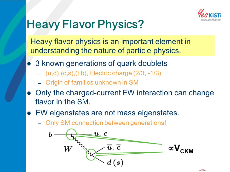 Heavy Flavor Physics? 3 known generations of quark doublets – (u,d),(c,s),(t,b), Electric charge (2/3, -1/3) – Origin of families unknown in SM Only t