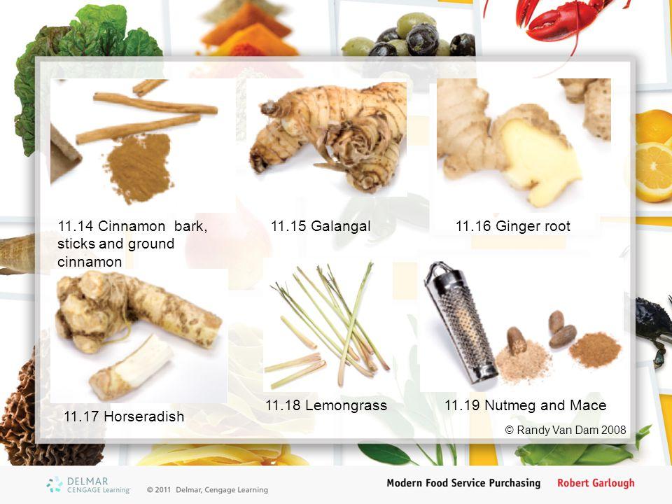 11.14 Cinnamon bark, sticks and ground cinnamon 11.15 Galangal11.16 Ginger root 11.17 Horseradish 11.18 Lemongrass11.19 Nutmeg and Mace © Randy Van Da