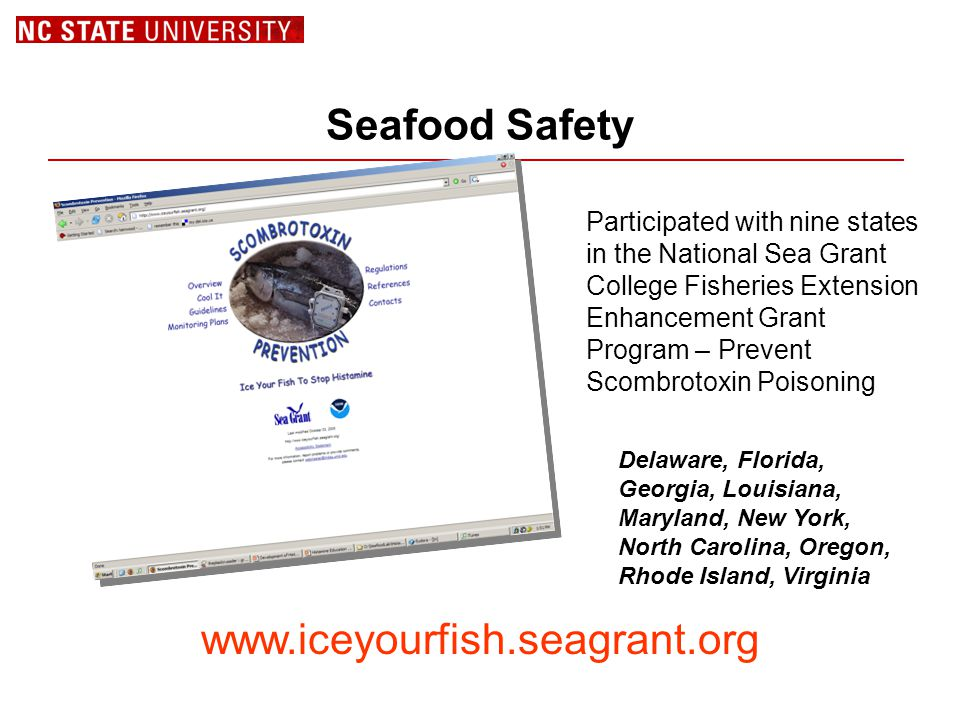 Seafood Safety Participated with nine states in the National Sea Grant College Fisheries Extension Enhancement Grant Program – Prevent Scombrotoxin Poisoning www.iceyourfish.seagrant.org Delaware, Florida, Georgia, Louisiana, Maryland, New York, North Carolina, Oregon, Rhode Island, Virginia