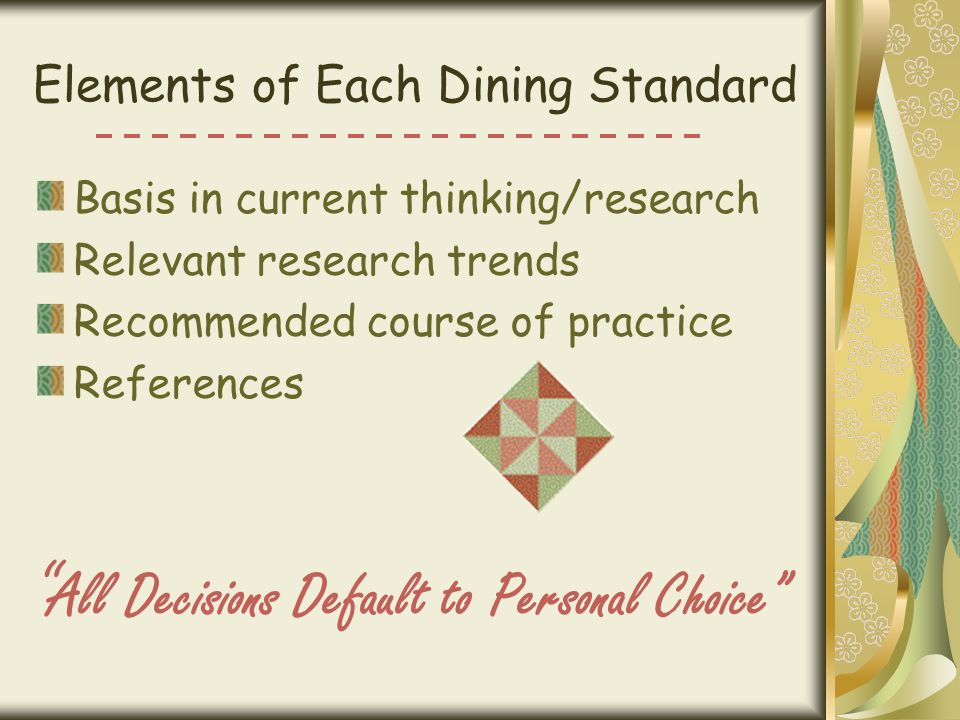 Elements of Each Dining Standard Basis in current thinking/research Relevant research trends Recommended course of practice References All Decisions Default to Personal Choice