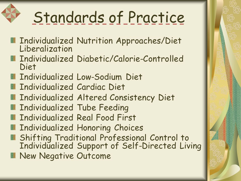 Standards of Practice Individualized Nutrition Approaches/Diet Liberalization Individualized Diabetic/Calorie-Controlled Diet Individualized Low-Sodiu