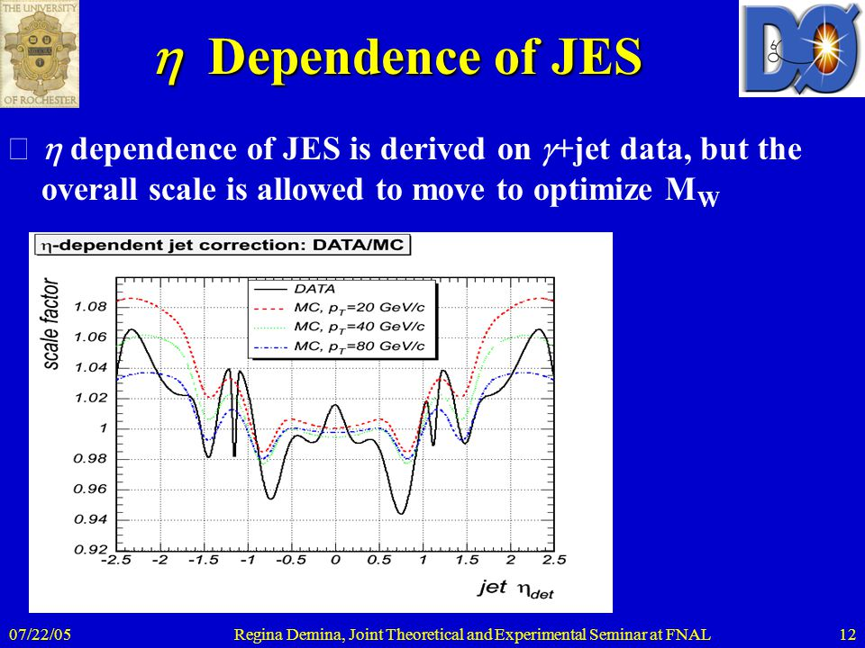 07/22/05Regina Demina, Joint Theoretical and Experimental Seminar at FNAL12  Dependence of JES  dependence of JES is derived on  +jet data, but t