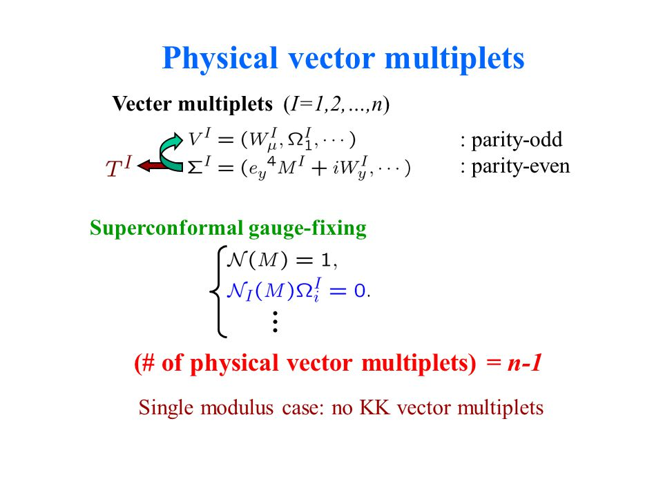 Physical vector multiplets Vecter multiplets (I=1,2,…,n) : parity-odd : parity-even Superconformal gauge-fixing … (# of physical vector multiplets) =