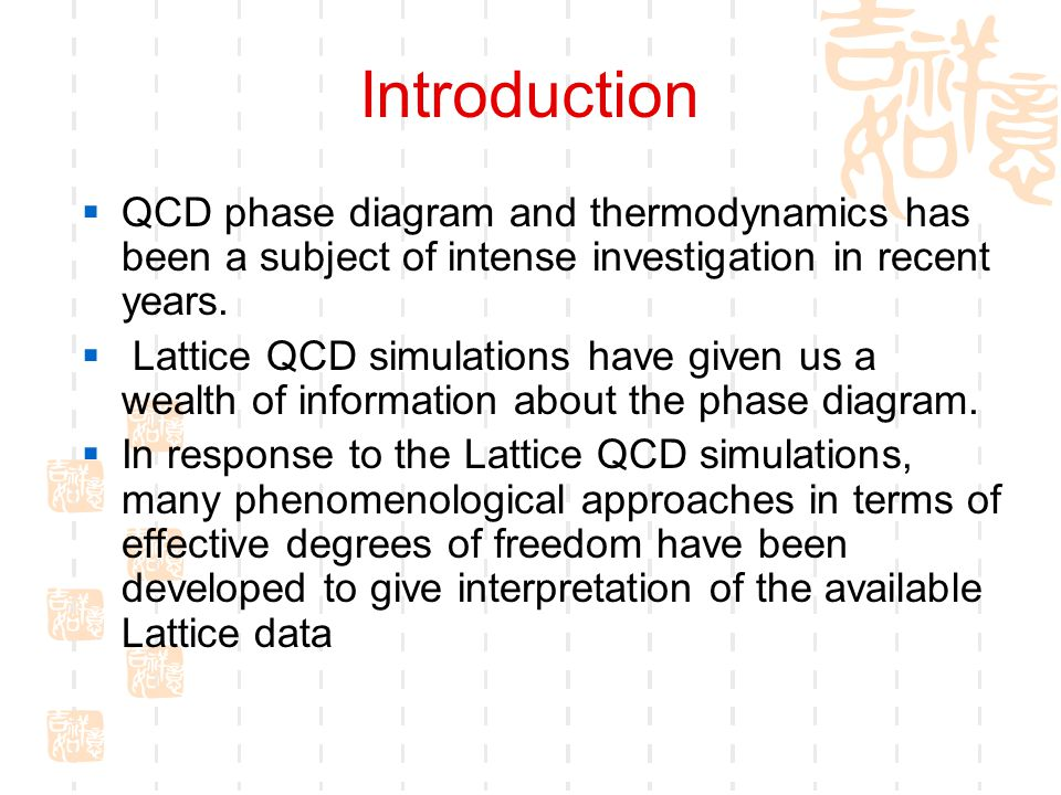 Introduction  QCD phase diagram and thermodynamics has been a subject of intense investigation in recent years.