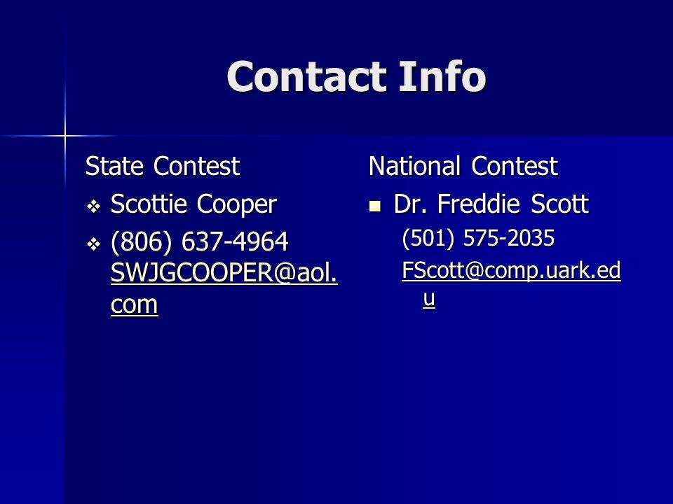 Contact Info State Contest  Scottie Cooper  (806) 637-4964 SWJGCOOPER@aol.