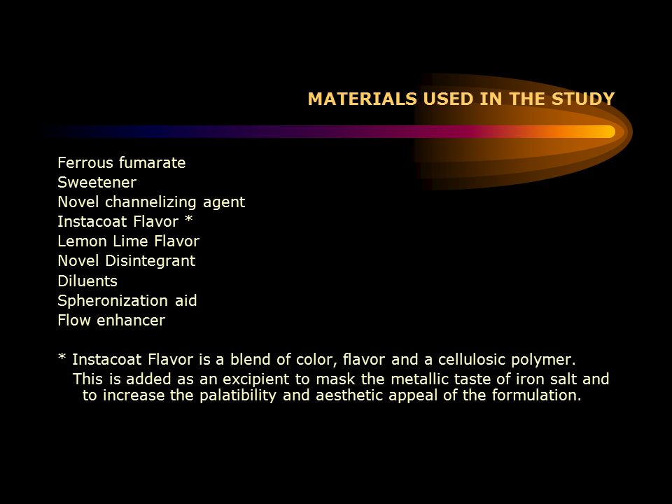 MATERIALS USED IN THE STUDY Ferrous fumarate Sweetener Novel channelizing agent Instacoat Flavor * Lemon Lime Flavor Novel Disintegrant Diluents Spheronization aid Flow enhancer * Instacoat Flavor is a blend of color, flavor and a cellulosic polymer.