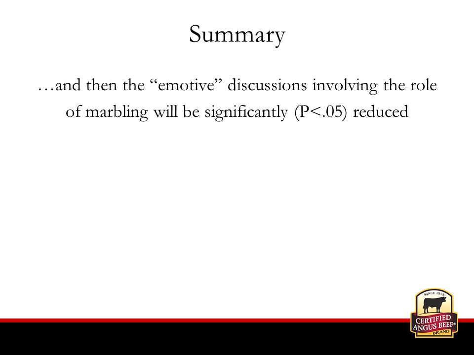 Summary …and then the emotive discussions involving the role of marbling will be significantly (P<.05) reduced