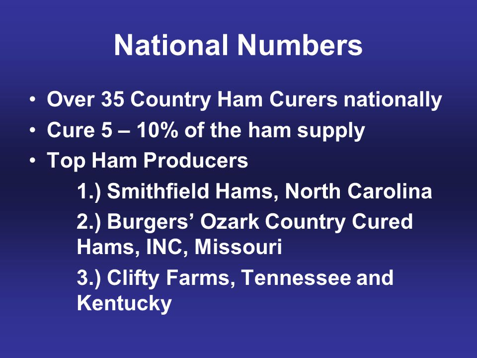 National Numbers Over 35 Country Ham Curers nationally Cure 5 – 10% of the ham supply Top Ham Producers 1.) Smithfield Hams, North Carolina 2.) Burger