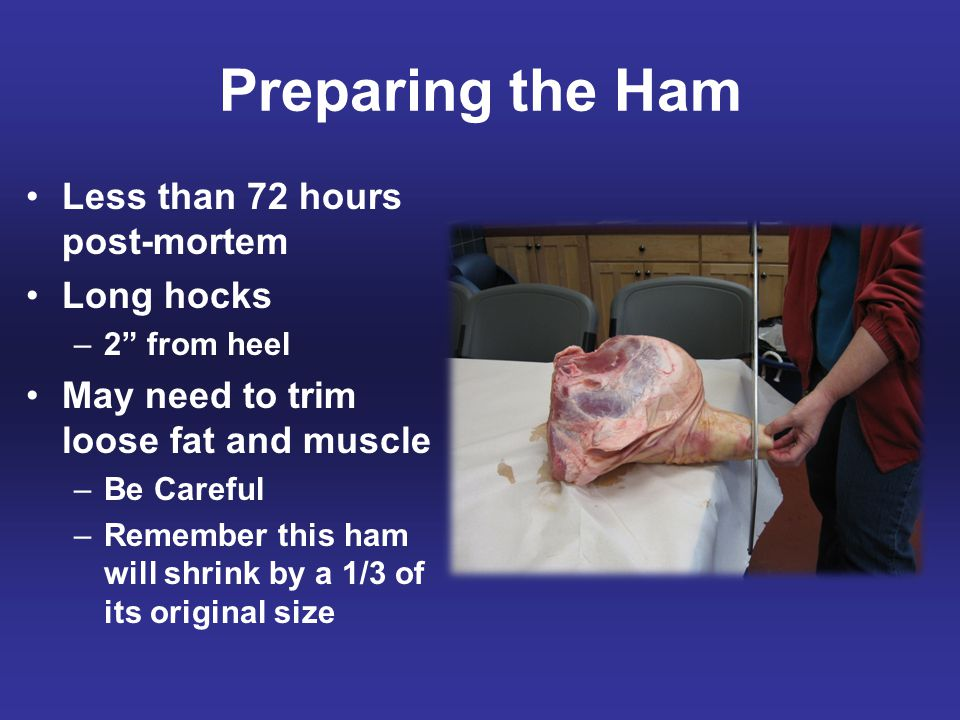 """Preparing the Ham Less than 72 hours post-mortem Long hocks –2"""" from heel May need to trim loose fat and muscle –Be Careful –Remember this ham will sh"""