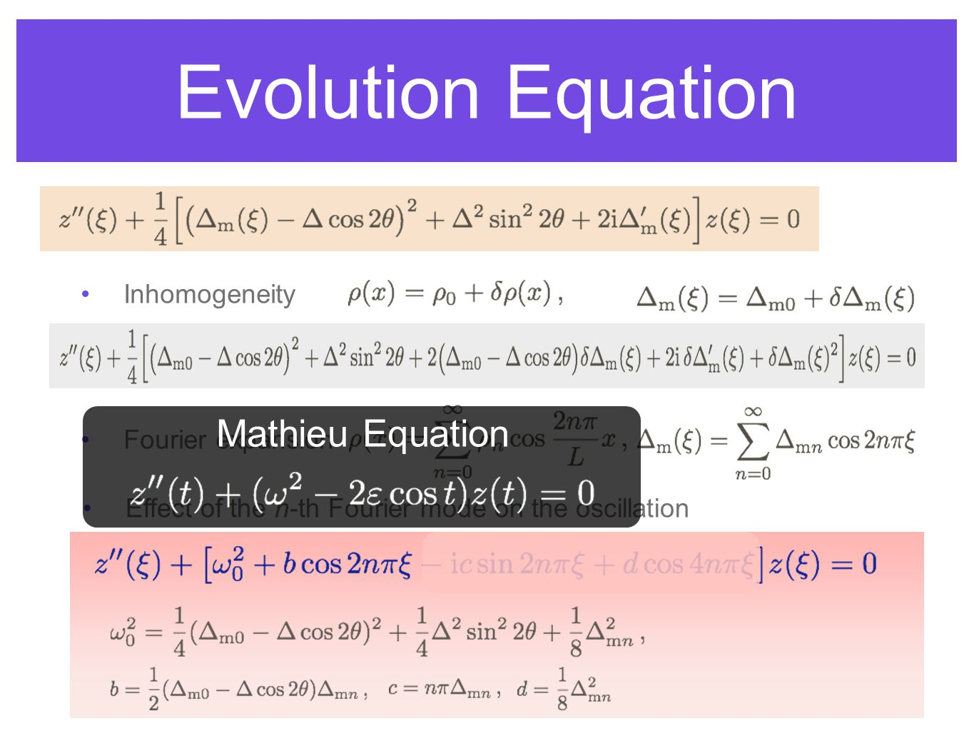Evolution Equation Inhomogeneity Fourier expansion Effect of the n-th Fourier mode on the oscillation Mathieu Equation