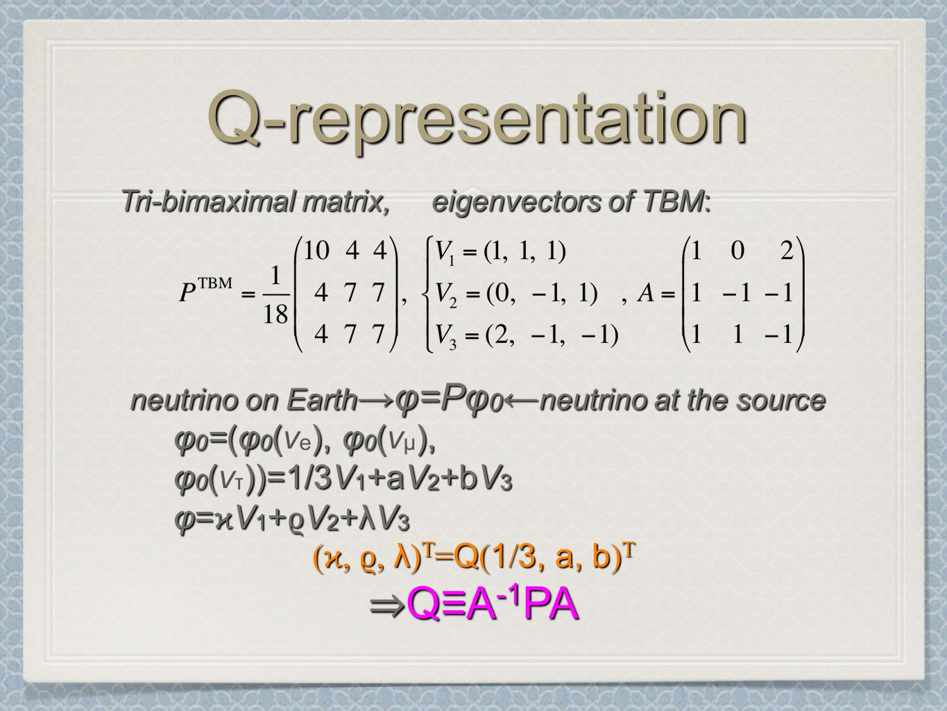 Q-representationQ-representation neutrino on Earth →φ=Pφ 0 ← neutrino at the source φ 0 =(φ 0 (), φ 0 (), φ 0 ())=1/3V 1 +aV 2 +bV 3 φ 0 =(φ 0 (ν e ), φ 0 (ν μ ), φ 0 (ν τ ))=1/3V 1 +aV 2 +bV 3 φ= ϰ V 1 + ϱ V 2 +λV 3 ( ϰ, ϱ, λ ) T = Q ( 1 / 3, a, b ) T ⇒ Q≡A -1 PA Tri-bimaximal matrix, eigenvectors of TBM: