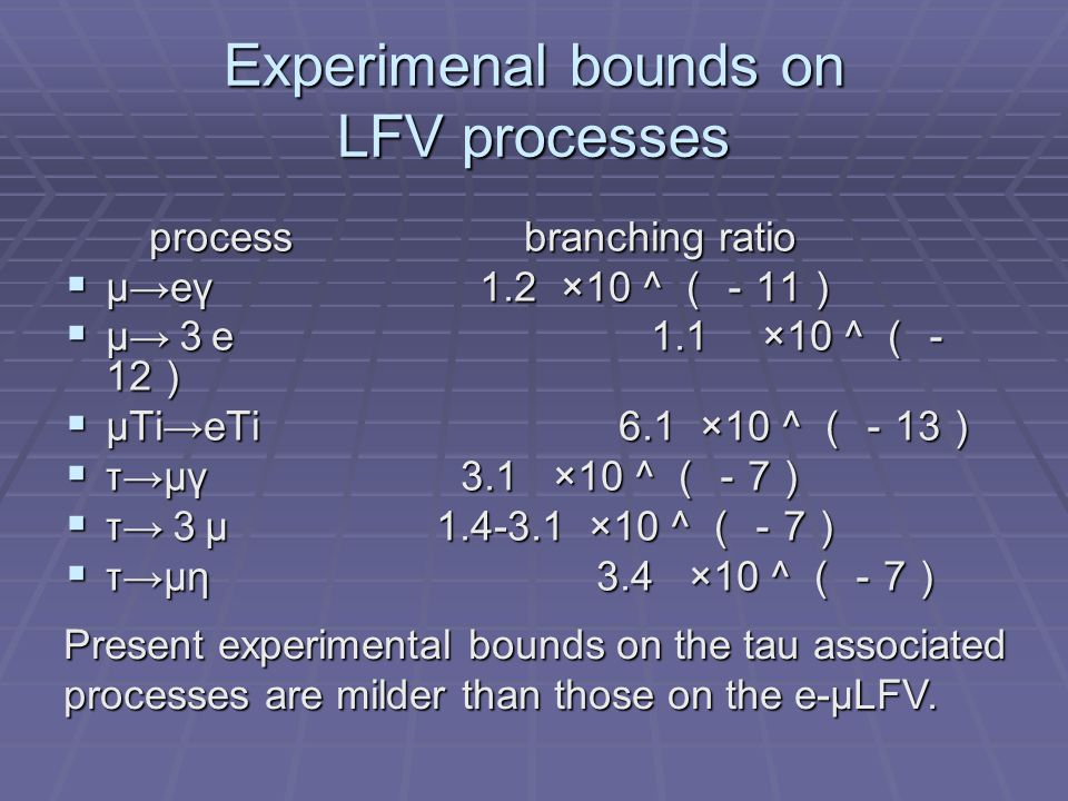 Experimenal bounds on LFV processes process branching ratio process branching ratio  μ→eγ 1.2 ×10 ^(- 11 )  μ→eγ 1.2 ×10 ^(- 11 )  μ→ 3 e 1.1 ×10 ^(- 12 )  μTi→eTi 6.1 ×10 ^(- 13 )  τ→μγ 3.1 ×10 ^(- 7 )  τ→ 3 μ 1.4-3.1 ×10 ^(- 7 )  τ→μη 3.4 ×10 ^(- 7 )  τ→μη 3.4 ×10 ^(- 7 ) Present experimental bounds on the tau associated processes are milder than those on the e-μLFV.