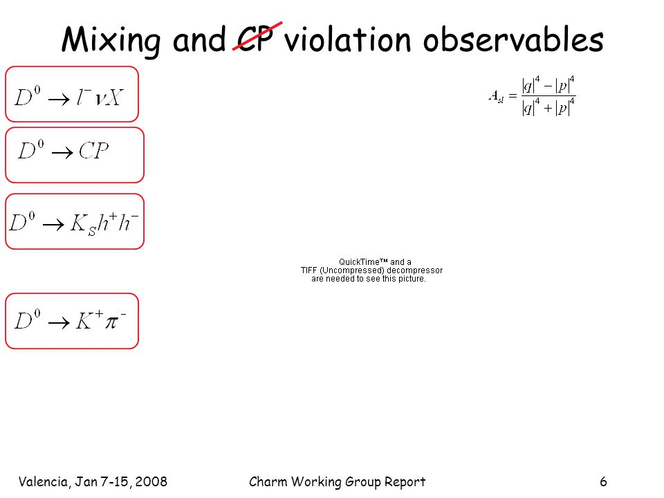 Valencia, Jan 7-15, 2008Charm Working Group Report6 Mixing and CP violation observables