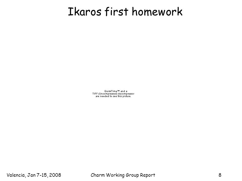 Valencia, Jan 7-15, 2008Charm Working Group Report8 Ikaros first homework