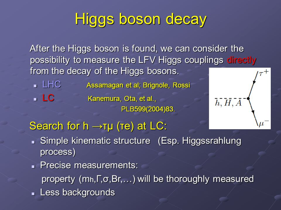 Higgs boson decay After the Higgs boson is found, we can consider the possibility to measure the LFV Higgs couplings directly from the decay of the Higgs bosons.