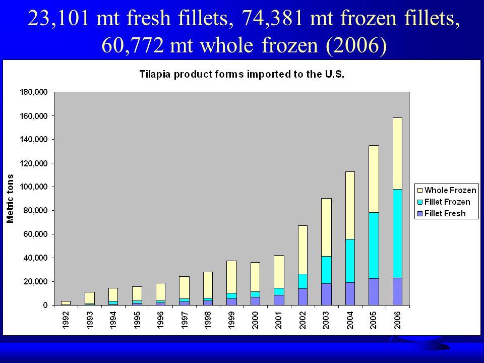 23,101 mt fresh fillets, 74,381 mt frozen fillets, 60,772 mt whole frozen (2006)