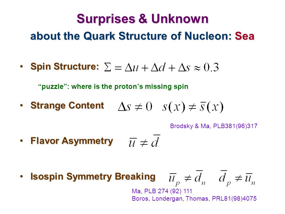 "Surprises & Unknown about the Quark Structure of Nucleon: Sea Spin Structure:Spin Structure: ""puzzle"": where is the proton's missing spin Strange Cont"