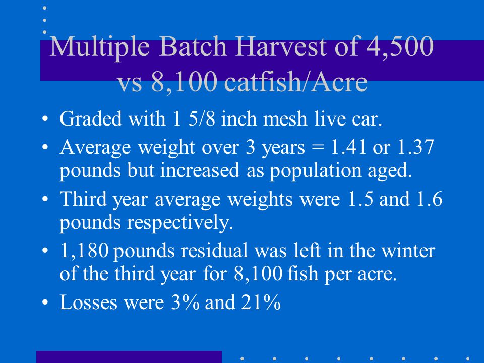 Multiple Batch Harvest of 4,500 vs 8,100 catfish/Acre Graded with 1 5/8 inch mesh live car.