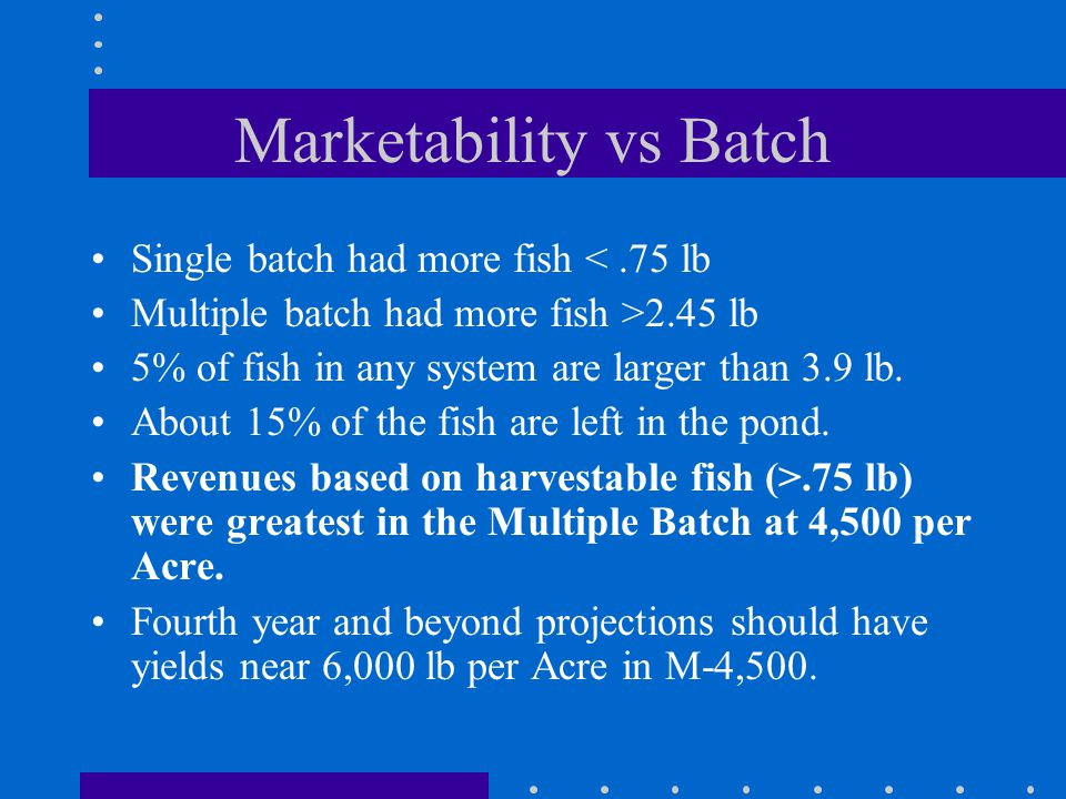 Marketability vs Batch Single batch had more fish <.75 lb Multiple batch had more fish >2.45 lb 5% of fish in any system are larger than 3.9 lb.