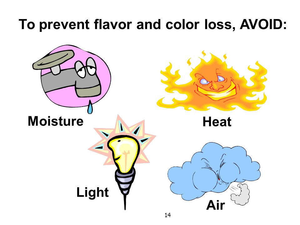 14 To prevent flavor and color loss, AVOID: Moisture Light Heat Air