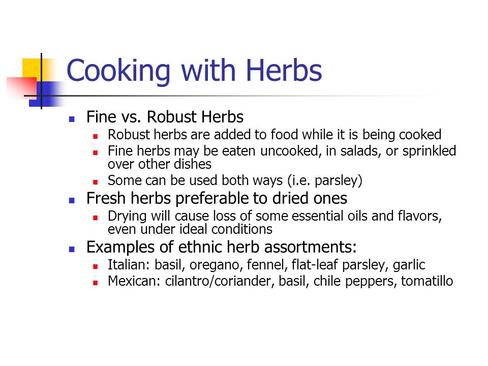 Cooking with Herbs Fine vs.