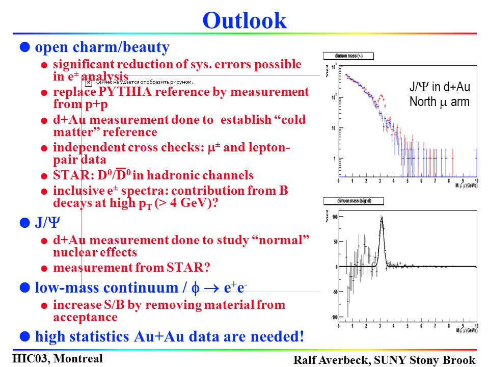 Ralf Averbeck, SUNY Stony Brook HIC03, Montreal l open charm/beauty l significant reduction of sys. errors possible in e ± analysis l replace PYTHIA r